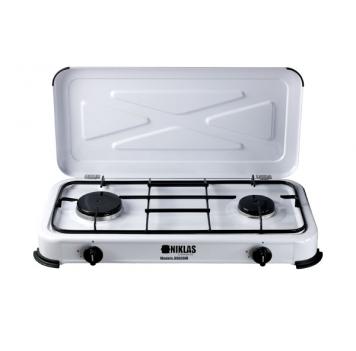 Cocina hornillo gas de dos fuegos.